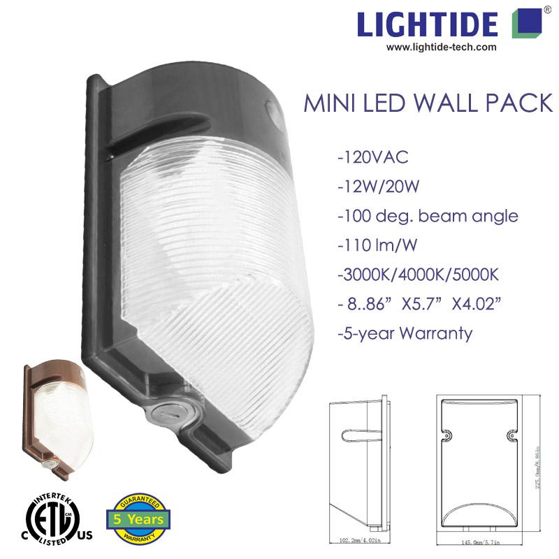 LED Mini Wall Pack Light w/ Photocell, 12Watt /1400LM, 5 Years Warranty