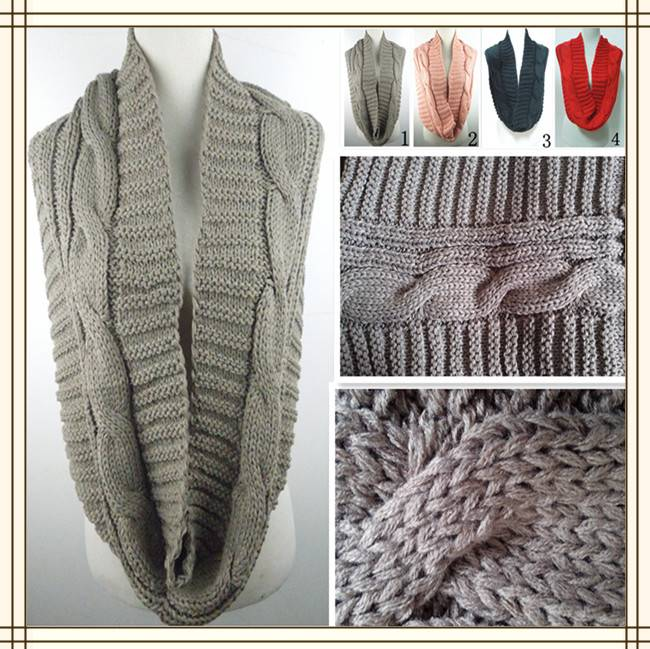 PG1217 2014 best fahisonal grey colour warm loop knitted twisted scarf