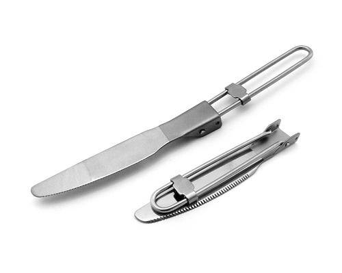 outdoor Ti Folding knife,titanium tableware for camping