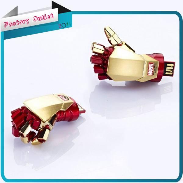2014 wholesale Fashion Avengers Iron Man 3 hand LED Flash128MB 8GB 32GB 64gb USB Flash 2.0 Memory Dr