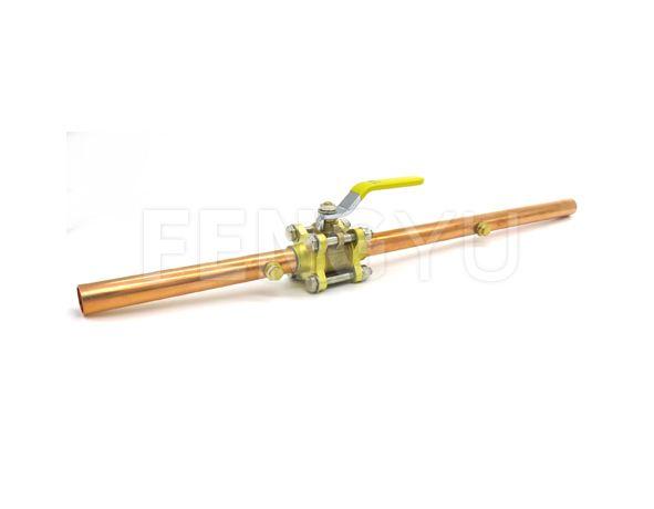 Three pieces brass ball valve