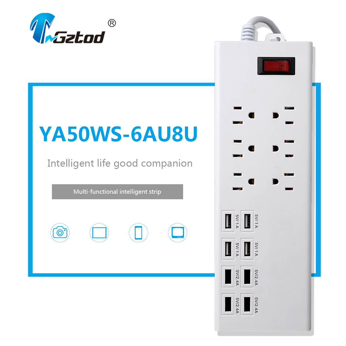 us type 6 way power extension board with 8 port usb 5v 2.4a 1a electrical outlet surge protection