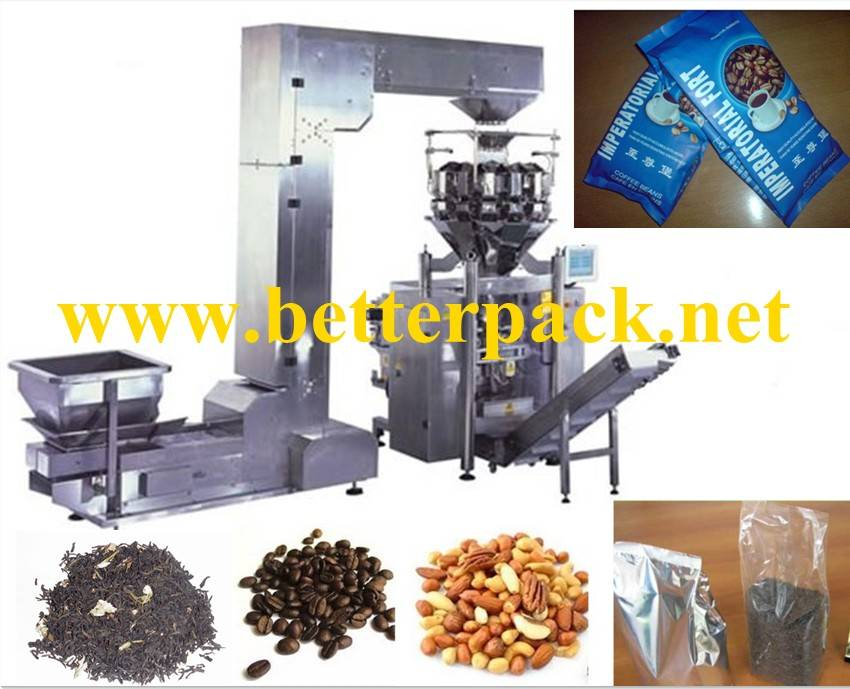automatic big plastic pouch sugar rice weighing vertical filling packing line