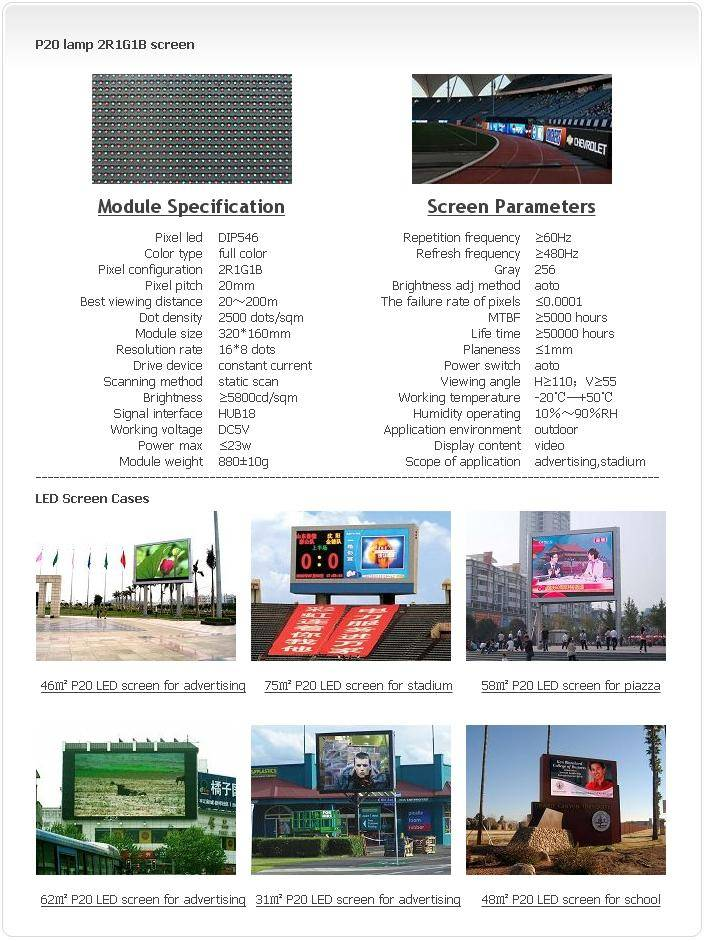 Selling Outdoor P20 LAMP 2R1G1B LED screen