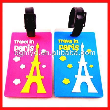 Paris souvenir soft pvc luggage tag with plastic tag