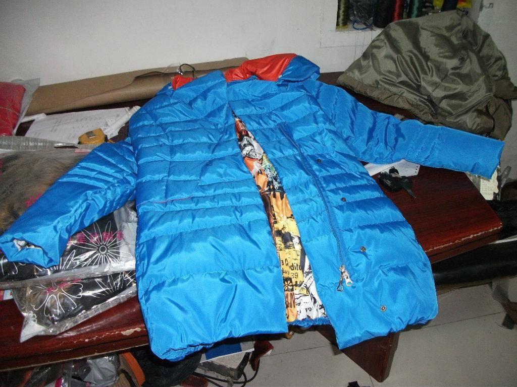 Blue down coat