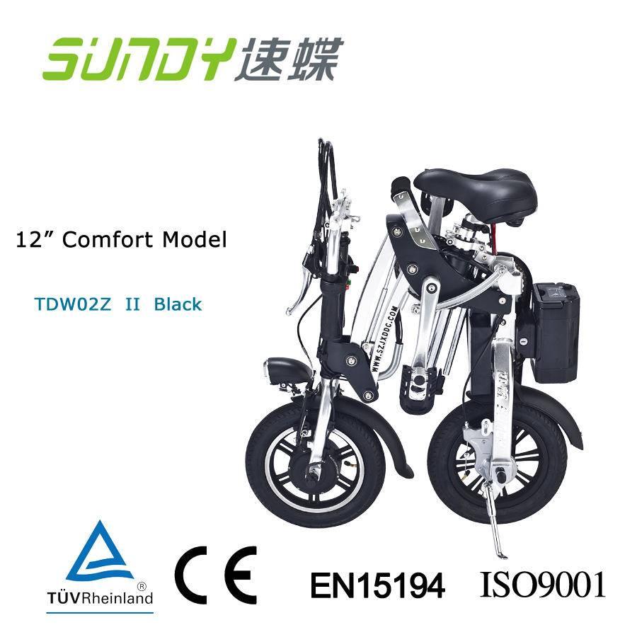 12-Inch brushless motor Mini Folding Electric Bicycle-black
