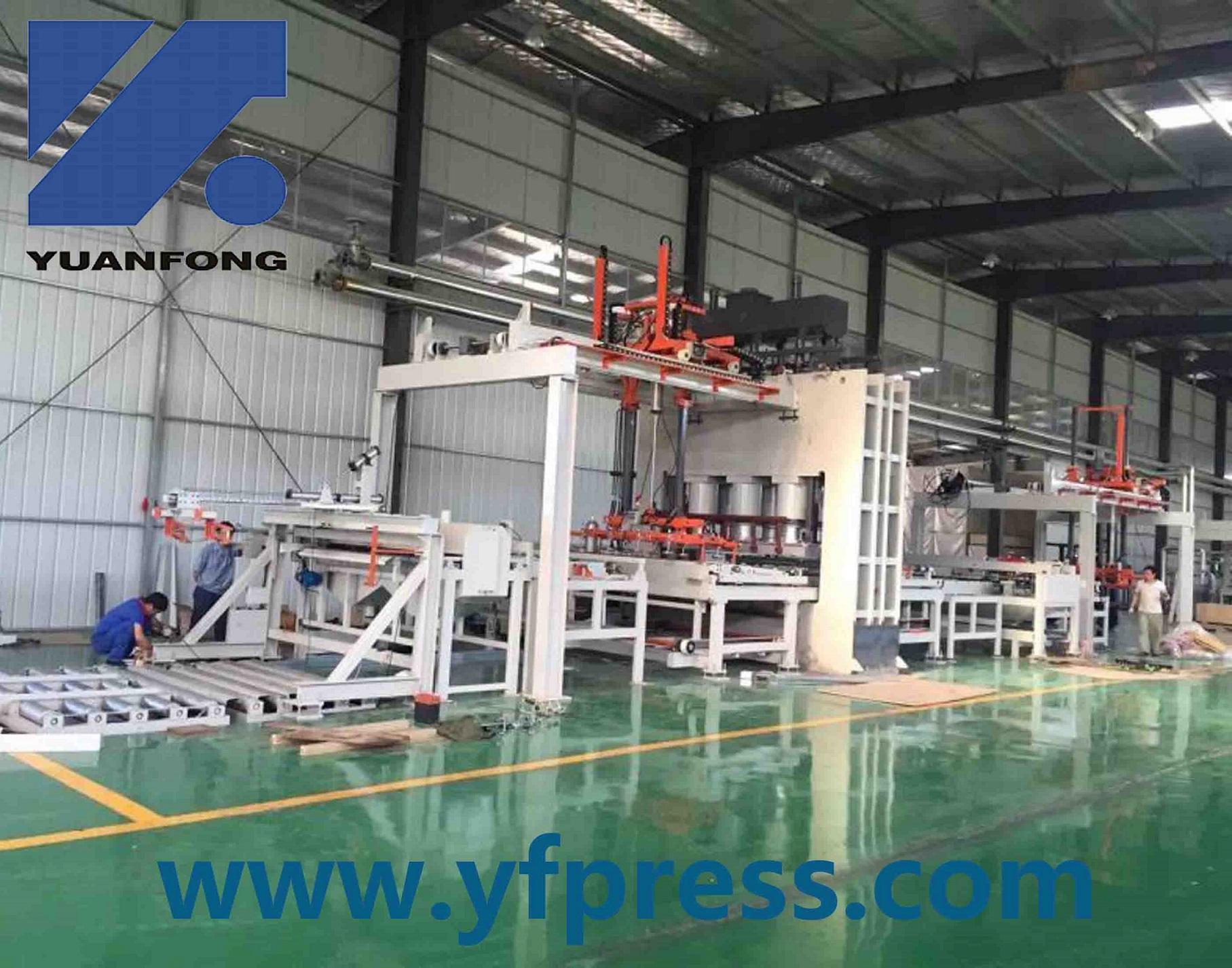 short cycle hot press line/ melamine laminated hot press
