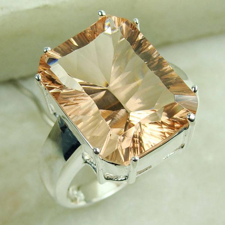 925 Sterling Silver  MORGANITE  gemstone ring
