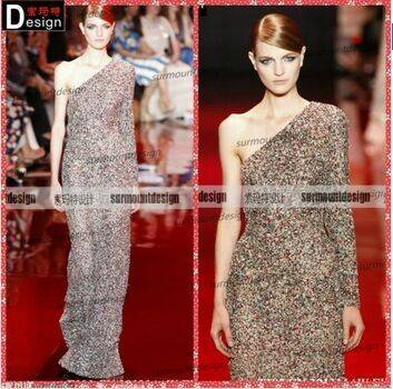 Surmount Gorgeous Fully Sequins Beaded One Sleeve Elie Saab Evening Dress For Sale
