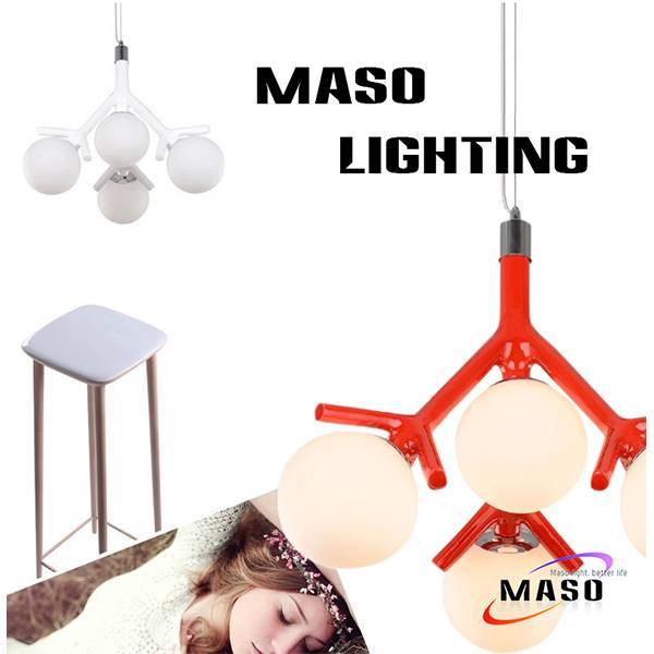Latest Product Indoor Resin Pendant Lamp Branch Shape Four Light Holders E27 Base MS-P1040