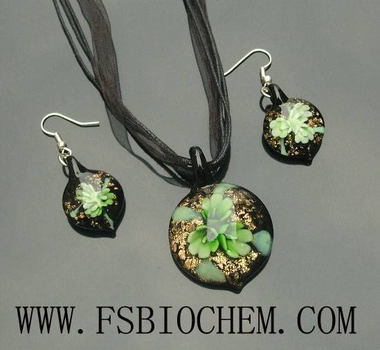 Lampwork glass necklaces and earrings sets,Lampwork Glass Pendants earring sets
