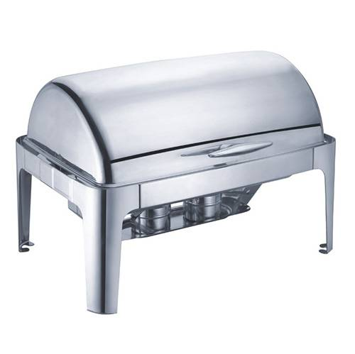 8 Qt. Rectangular Mirror Finish Stainless Steel Roll Top Chafer(Top)