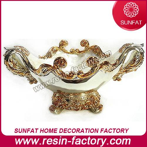 Gold plating craft for Chinese decoration resin candy bowl