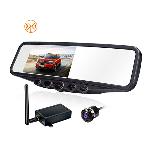 Car Security System with 4.3-Inch Mirror Monitor Wireless Transmitter Waterproof Flush Mounted Cam