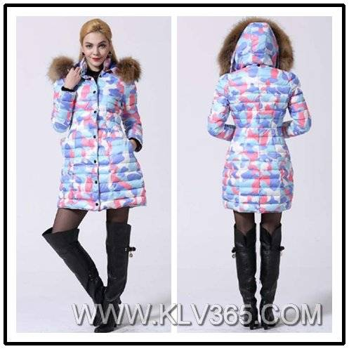 Wholesale Women Fashion Winter Down Coat With Fur Hood