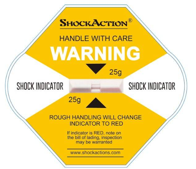 Shockaction impact labels in shipment