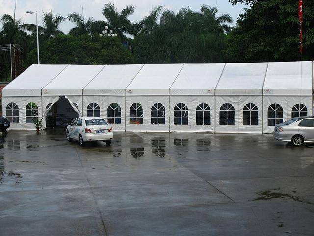 Party tent with clear windows