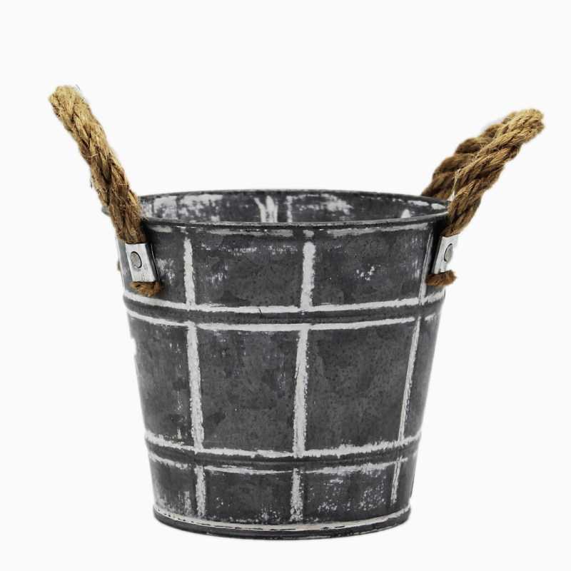 Spring Style Galvanized Sheet Metal Pot For Flower Tree