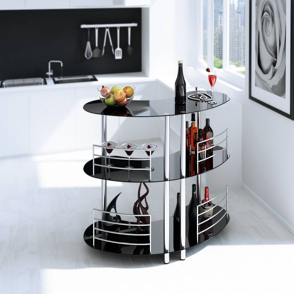 DaoHeng Modern Tempered Glass Bar Table Martini Entertainment with Metal Standing