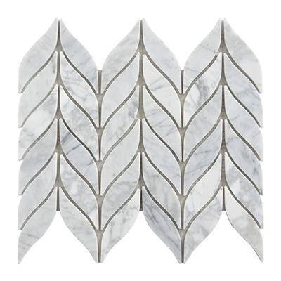 Irregular carrara white marble mosaic tile leaves shape