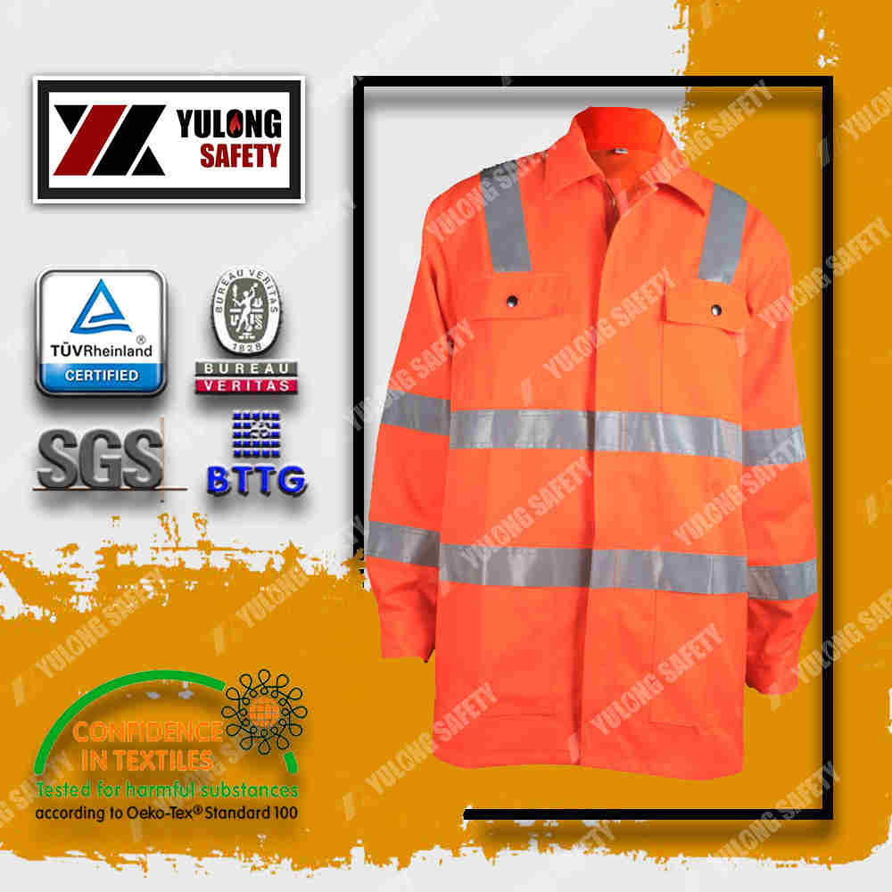 fluorescent red high visibility jacket