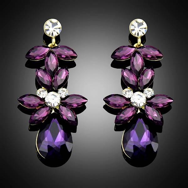 Purple earrings for Women Wedding Fashion Jewelry Water Drop wholesale price Bc006