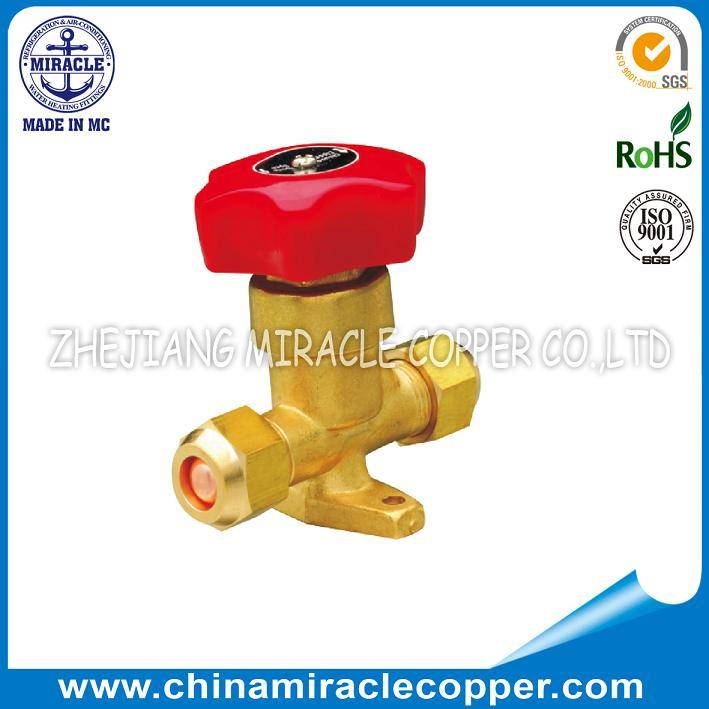 Refrigeration Parts Hand Valve Flare Type With Nuts