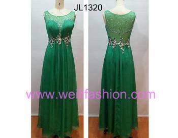 Long Beading Pleated Chiffon Net Evening Dresses JL1320