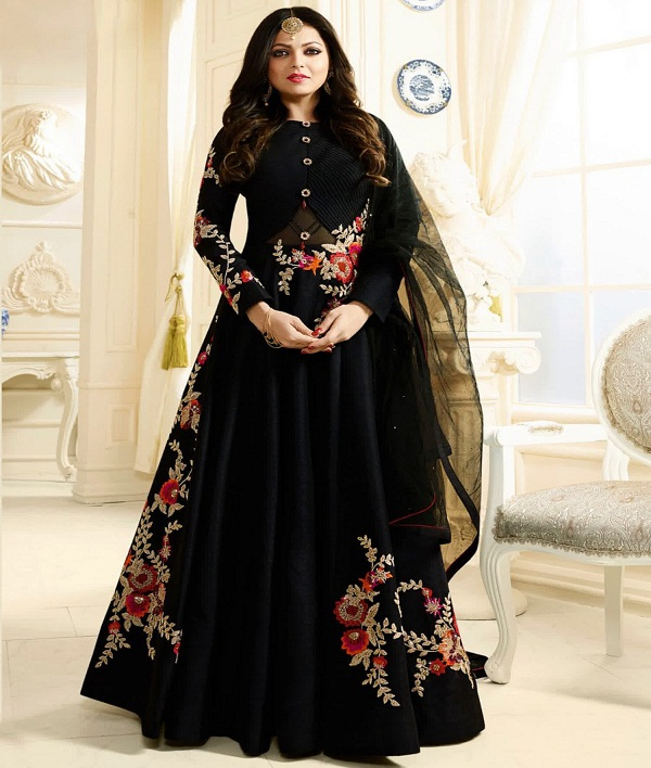 Style Amaze Attractive Black Color Semi Stitched Desinger Suit