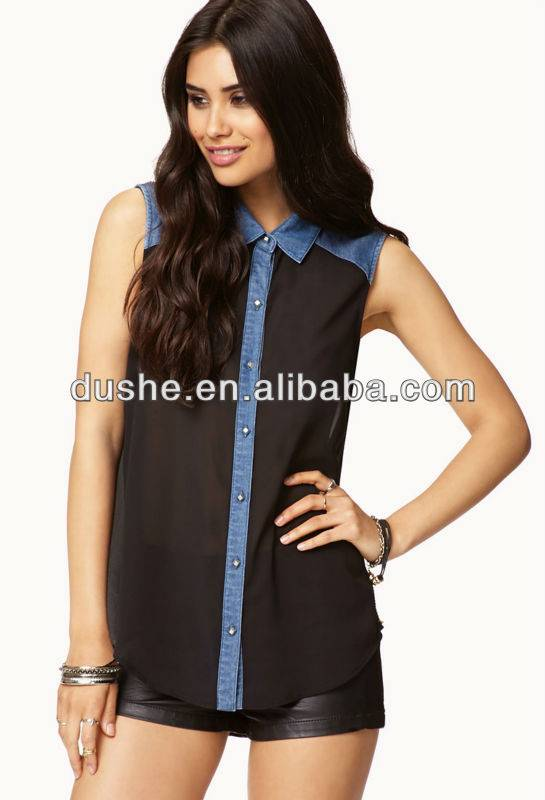 U'sake denim contrast chiffon fashionable tops and blouses S306030
