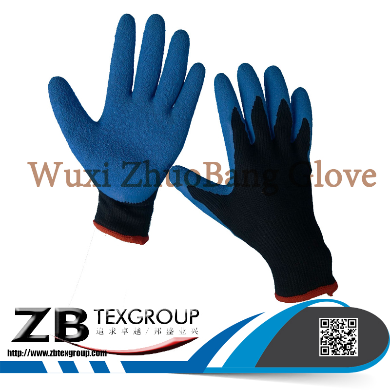 10 gauge cotton knitted gloves with latex coated palm safety gloves