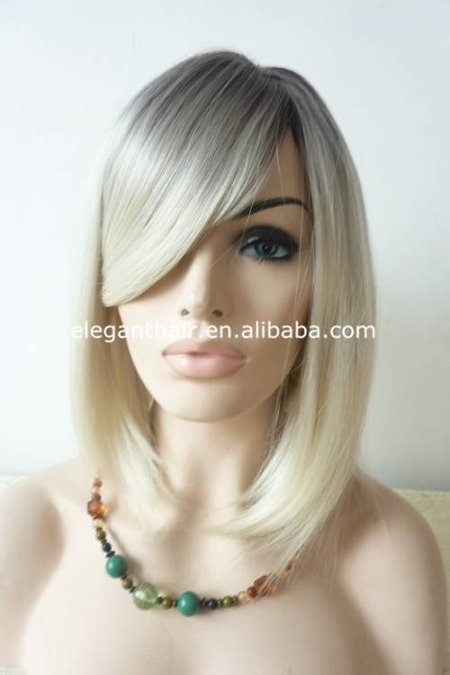 New fashion no shedding ombre color synthetic bob wig with bang