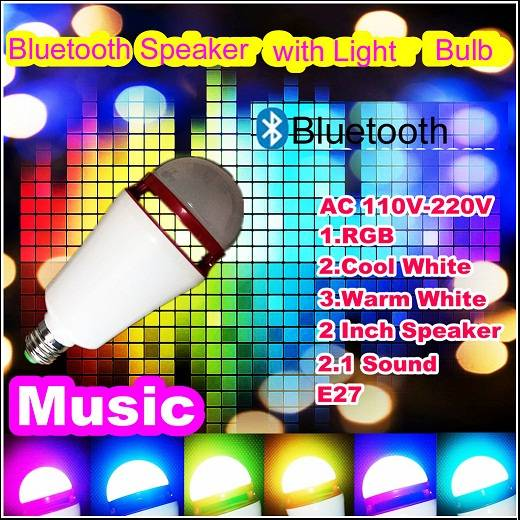 3W RGB/RGBW led music light bulb with Bluetooth speakers