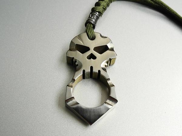 Titanium Ti Skull Cross Design Pendant Self Defense