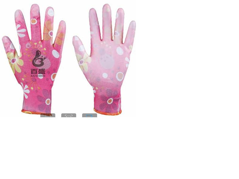 13G flower polyester glove with PU coated