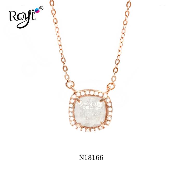 Ice Crackle CZ Stone Necklace