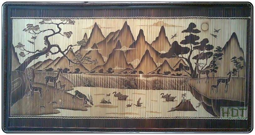 Handmade Bamboo Painting (Forests and Wildlife Artwork)_ This Is Not Painted