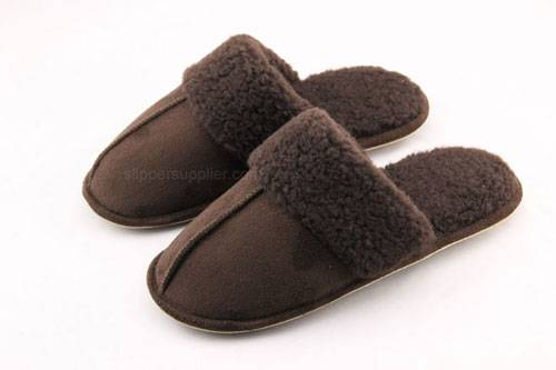Microsuede borg fleece cuff cemented mule slippers