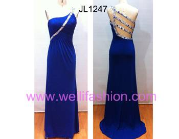 Long Pleated Beading Crystal Hemp Evening Dresses JL1247