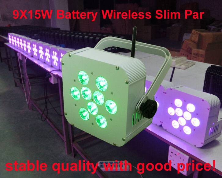 9X15W RGBAW UV battery wireless slim par,6 IN 1 battery power recharged flat par can