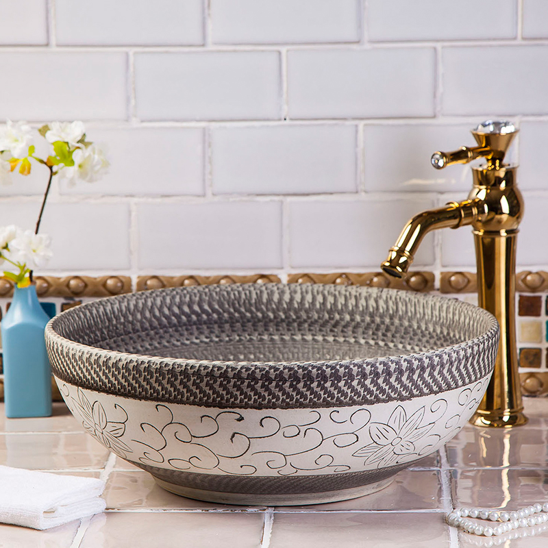 Hotel High-end Luxury Handmade Kitchen Without Faucet Ceramic Washbasin Sinks