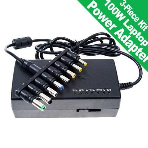 100W Laptop Power Adapter 3-Piece Kit (15V-24V Output)