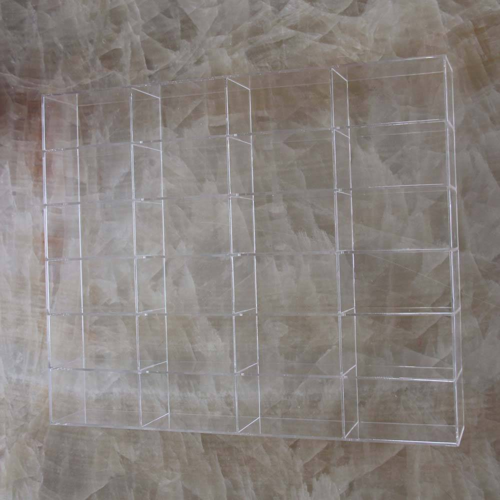 Custom clear acrylic makeup display organizer with dividers acrylic divided storage collection box