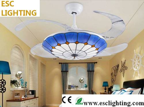 modern Mediterranean Style decorative living room ceiling fan with light