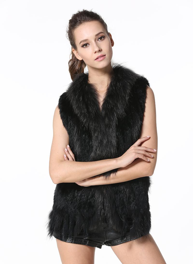 MEEFUR Rabbit Fur Vests with Raccoon Fur Collar Real Fur Knitted Women Waistcoat
