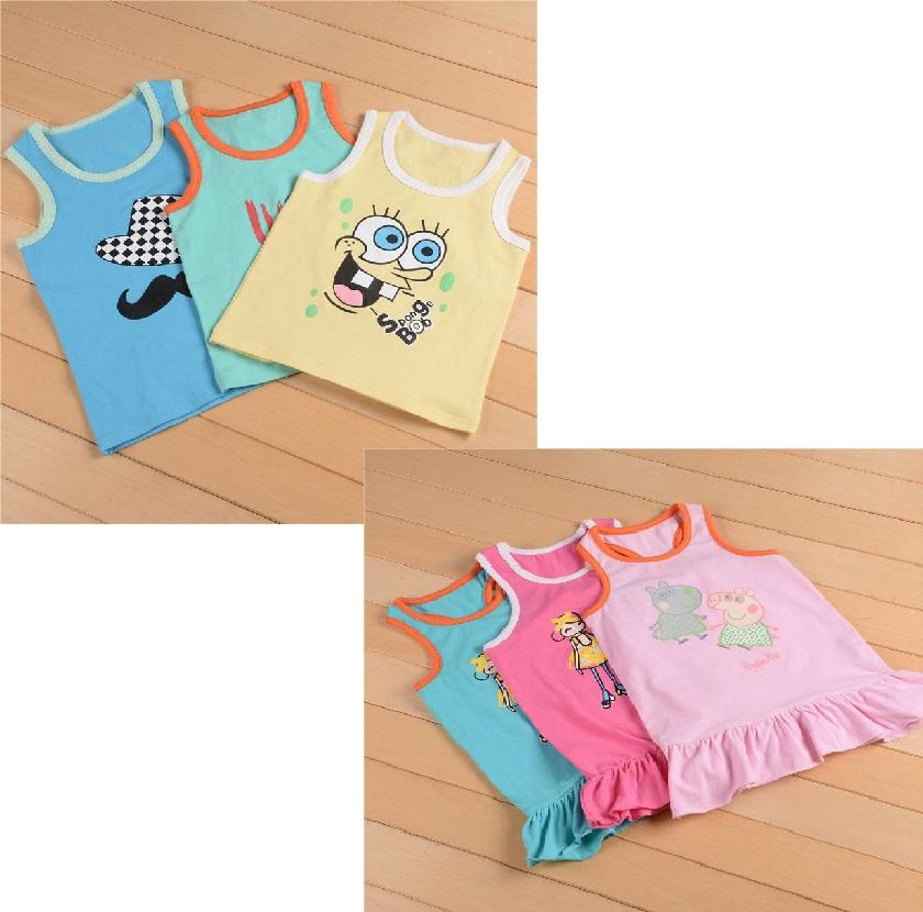 Children's printed strap vest--T-QY6590