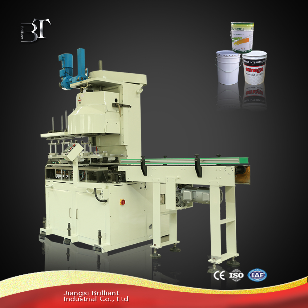 Automatic tin can closing machine for round tin can