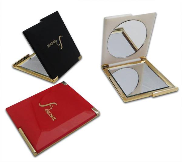 Promotional Compact Mirrors with Two Sides, Round & Square, Foldable Plastic Frame