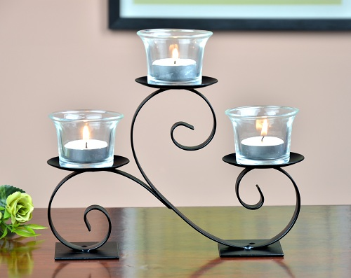 metal candle holder with three glass cup for home decoration